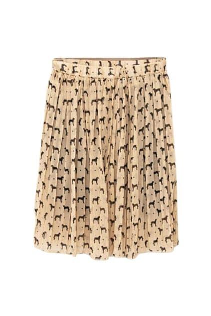Dogs Print Bouffancy Apricot Skirt