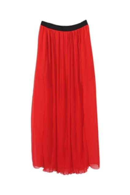 Pleating Red Maxi Skirt