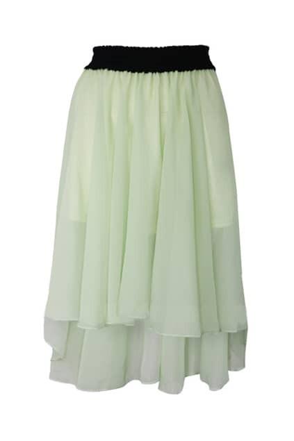 Asymmetric Hem Green Skirt