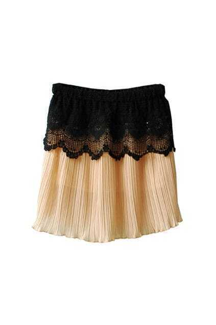 High Waist Lace Hem Nude Skirt