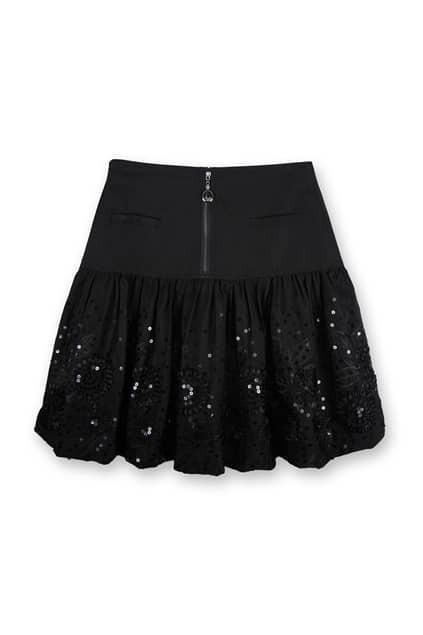 Lace Zipped Black Skirt