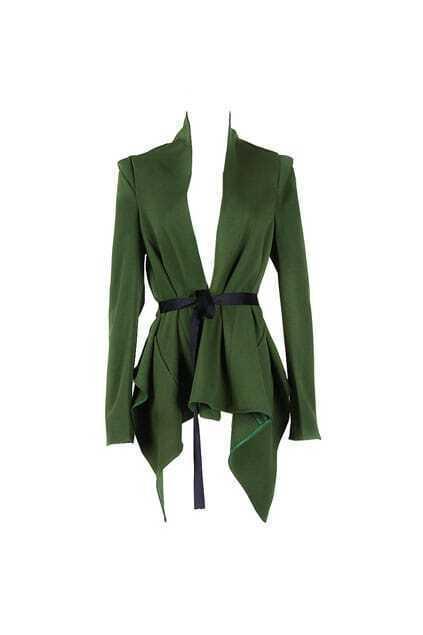 Anomalous Lower Hem Green Blazer