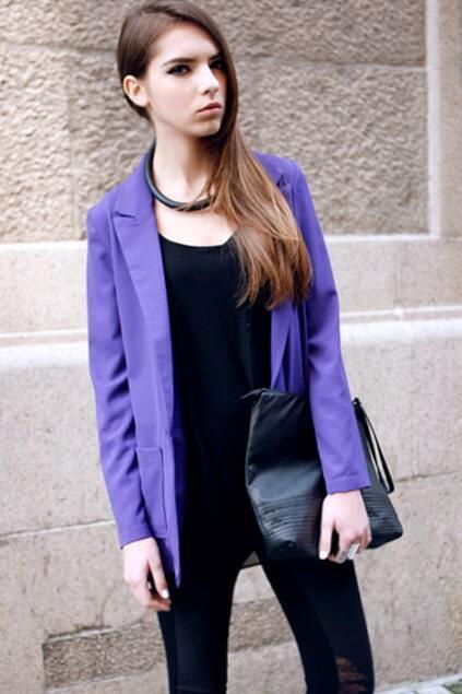 Horizontal Cut-out Back Purple Blazer