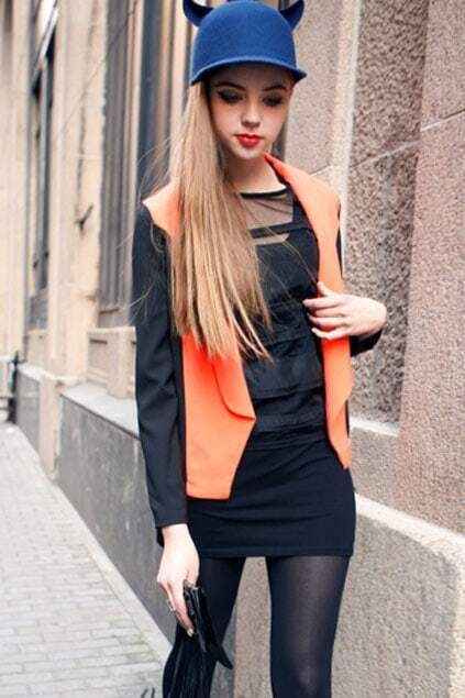 Montage Black Sleeves Orange Blazer