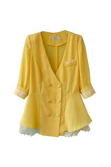 Double Breasted Lace Hem Yellow Coat