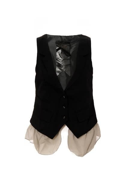 Splicing Chiffon Flouncing Black Gilet