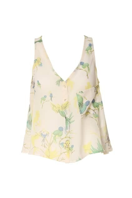 Birds Printed Sleeveless White Vest