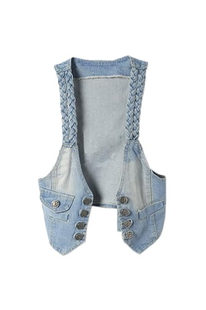 Woven Detailed Denim Gilet