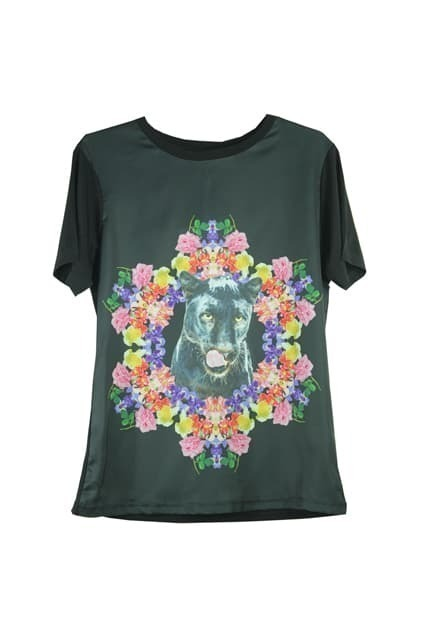 Demi-wolf And Flowers Print T-shirt