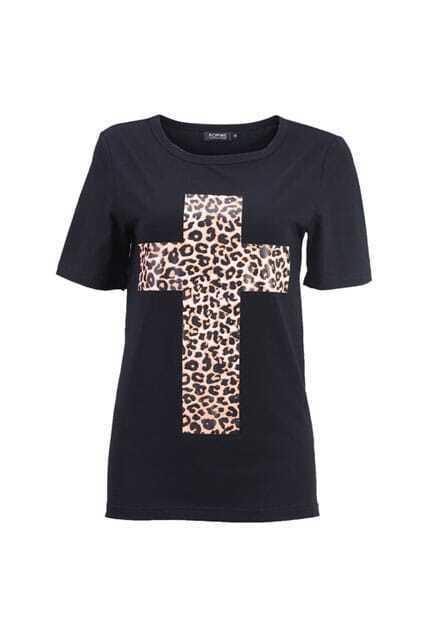 Leopard Cross Black T-shirt