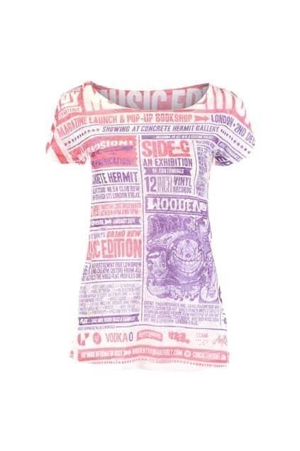 Newspaper Look Brief T-shirt