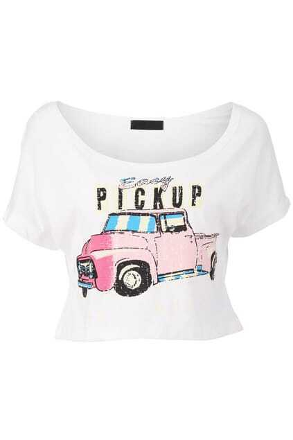Cars Print Cropped T-shirt