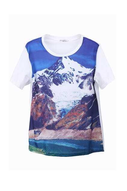 Multi-mountain Print T-shirt