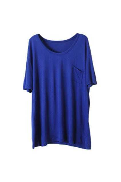 Chic Style Patch Pocket Blue T-shirt