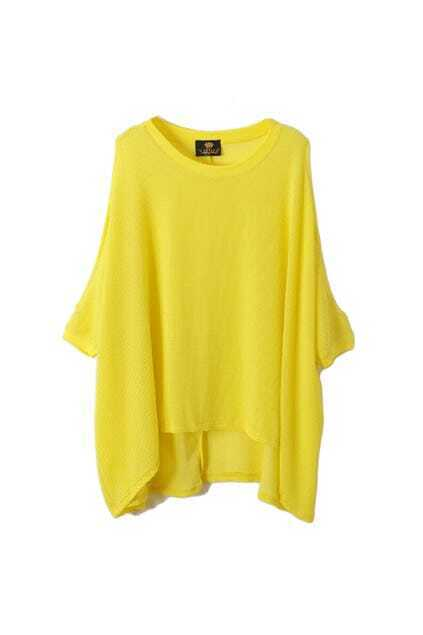 Off Shoulders Batwing Sleeves Yellow T-shirt