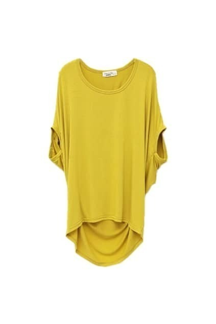 Batwing-sleeve Yellow T-shirt