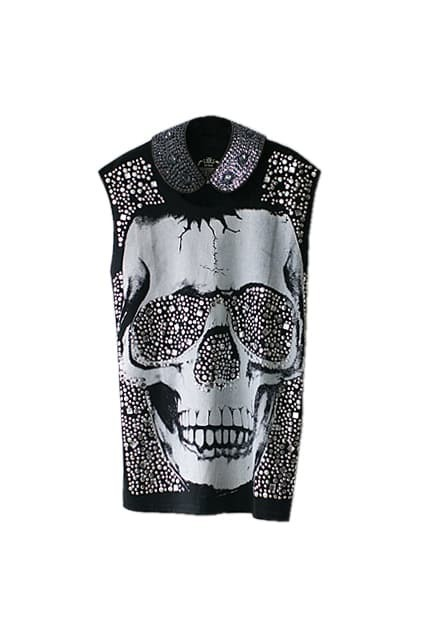 Rivet Main Skull Printed Black T-shirt