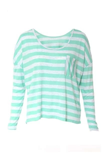 Batwing-sleeve Stripes Green T-shirt