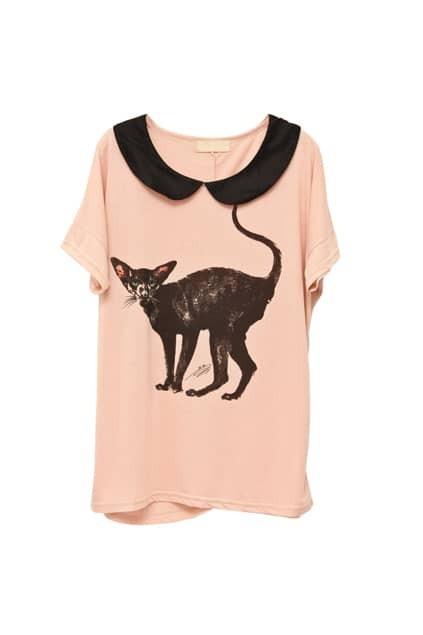 Cat Print Batwing Sleeve Pink T-shirt