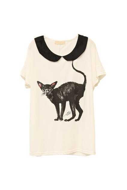 Cat Print Batwing Sleeve White T-shirt
