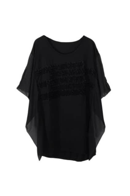 Solid Flowers Embellished Black T-shirt