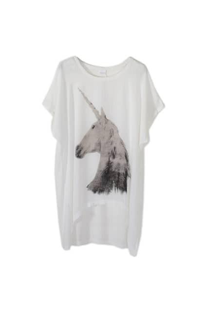 Horse Print Anomalous White T-shirt