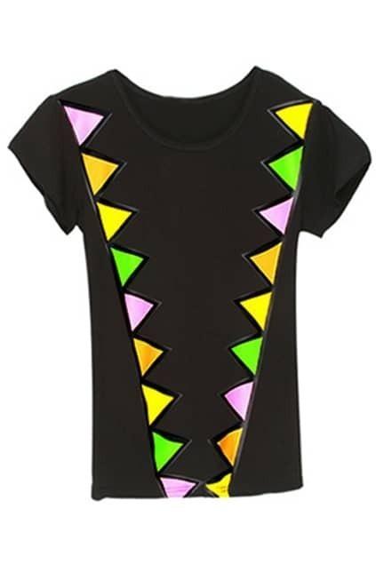 Triangle Print Short Sleeve Black T-shirt
