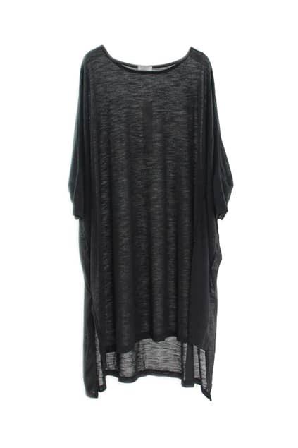 Anomalous Hemline Black Loose T-shirt