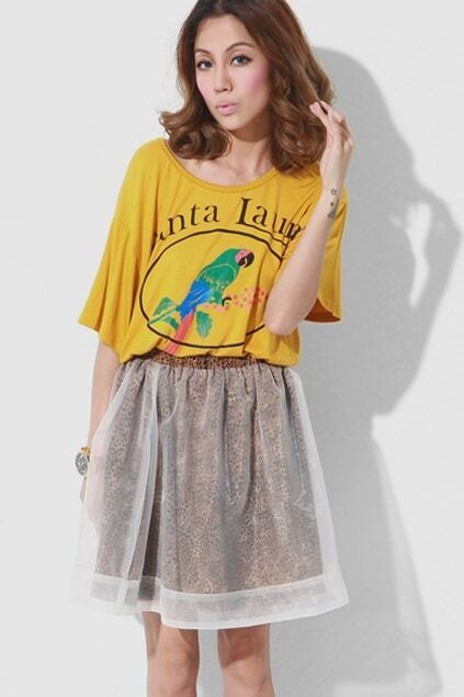 Parrot Printed Yellow T-shirt