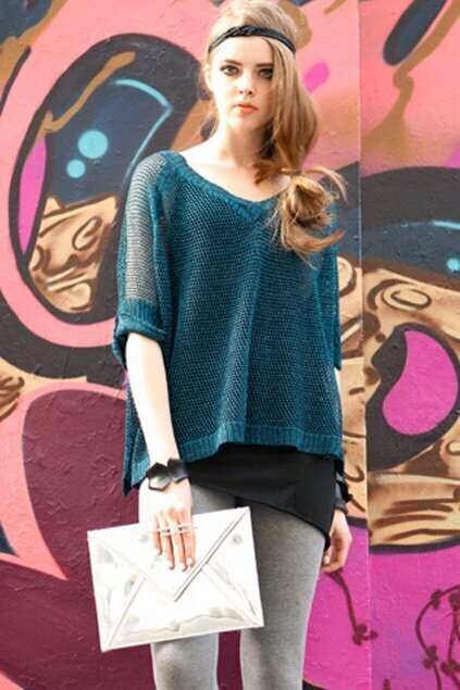 Netted Shine Blue Knitted T-shirt