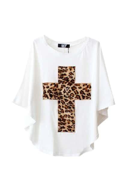 Leopard Cross Batwing White T-shirt