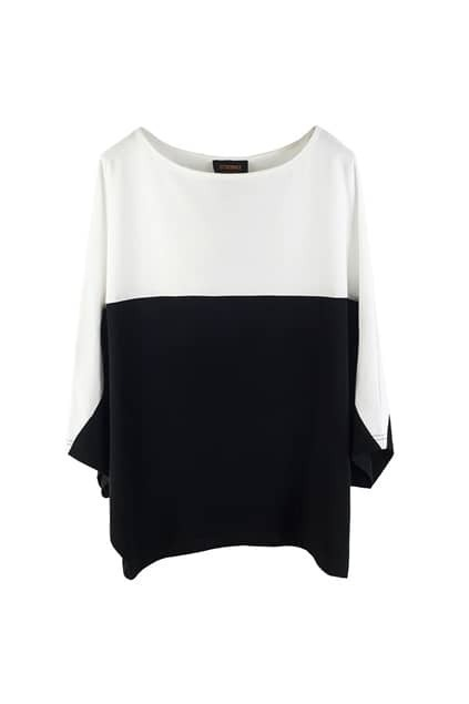 Batwing Sleeves White Montage Black T-shirt