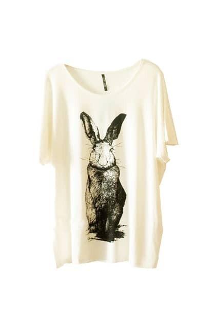 Sketch Rabbit Printed White T-shirt