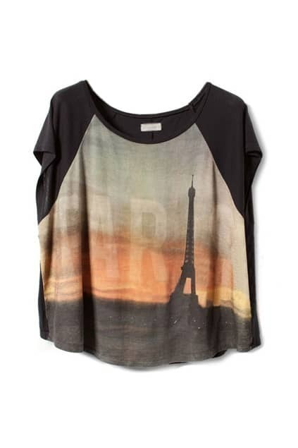 Eiffel Tower Batwing-sleeve T-shirt