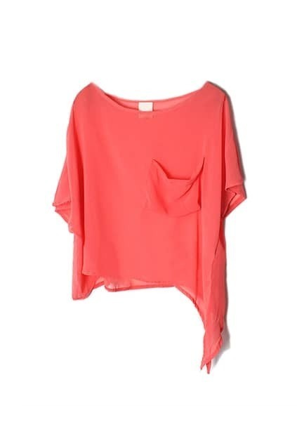 Batwing-sleeve Oversized Watermelon-red T-shirt
