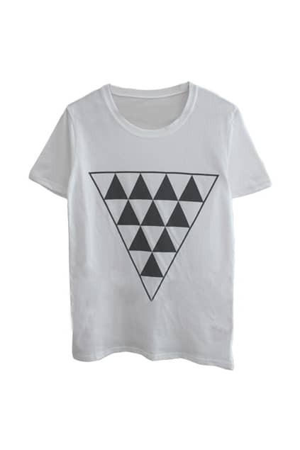 Triangle Pattern Front White T-shirt