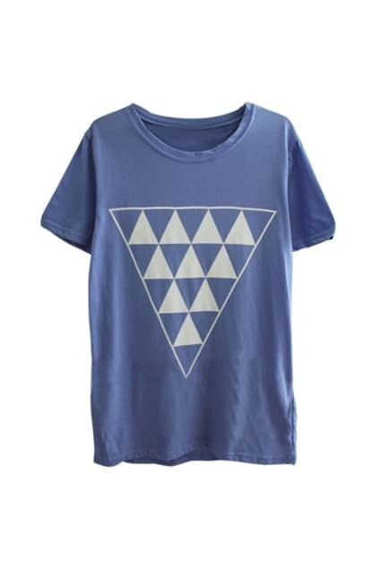 Triangle Pattern Front Blue T-shirt