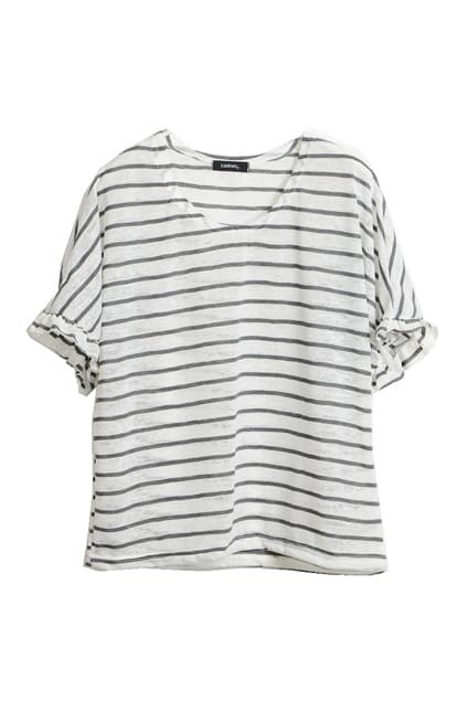 Batwing-sleeve Stripes Grey T-shirt