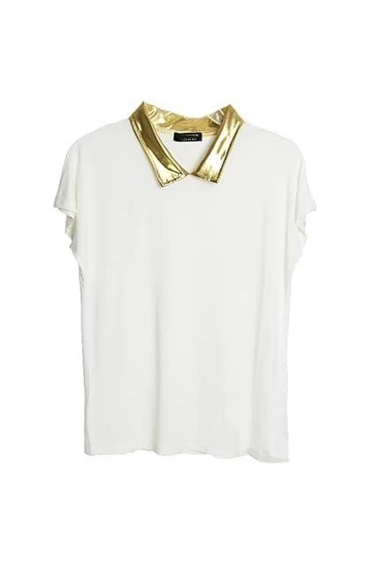 Retro Collar Contrast Color White T-shirt