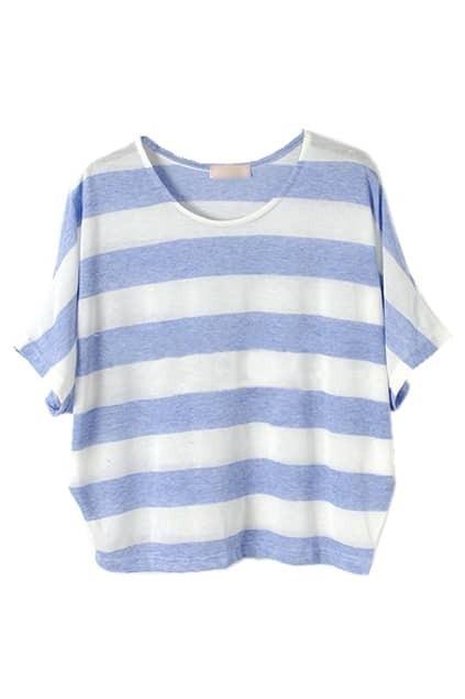 Batwing-sleeve Stripes Light-blue T-shirt