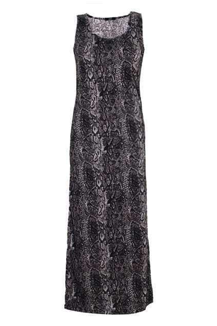 Snake Texture Print Grey Dress