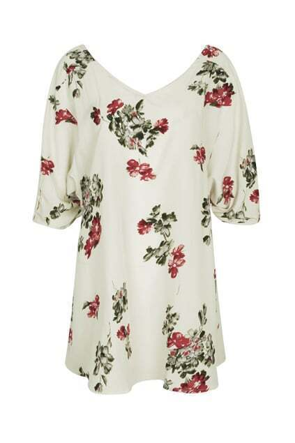 Button Fastening Back Cream Blouse