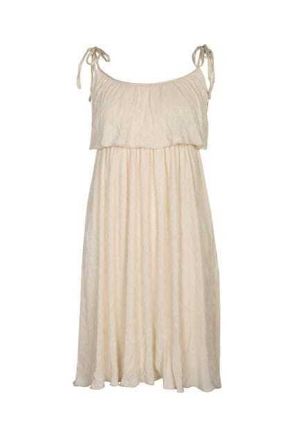 Pleated Main Ivory Strap Dress
