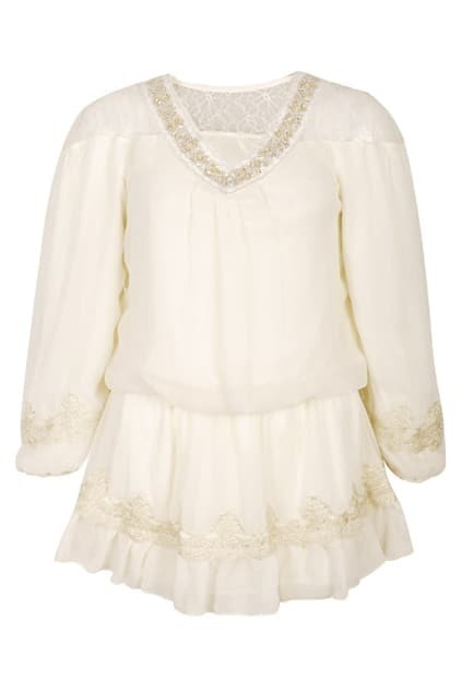 Embroidered Lace Trimming Cream-colored Dress