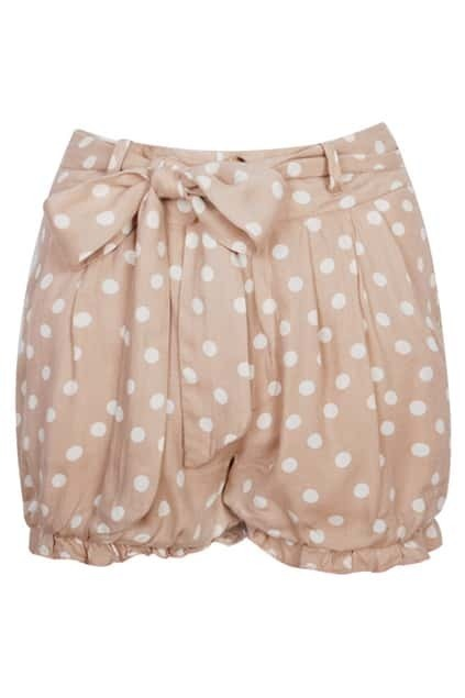 White Dots Printed Nude Shorts
