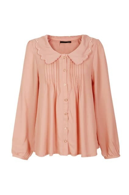 Pleated Main Nude Pink Blouse