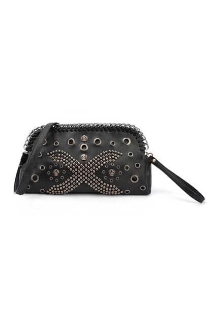 Rivets Cross Black Grab Handle Bag