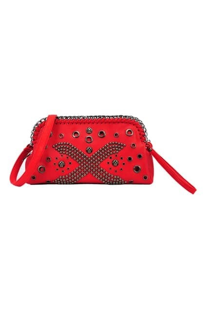 Rivets Cross Red Grab Handle Bag