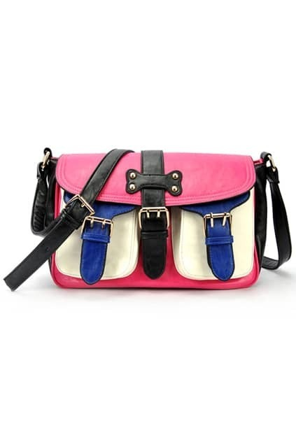 Contrast Color Pink-rose Shoulder Bag