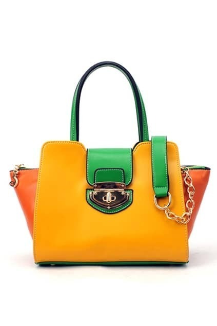 Yellow And Green Contrast Color Bag